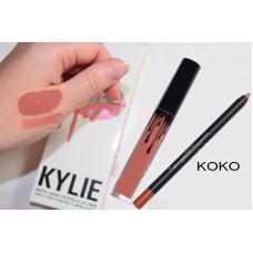 Матовый блеск для губ + карандаш Kylie Lipstick & Lip Liner Koko
