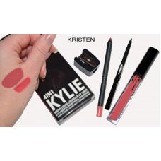 Матовый блеск KYLIE 4 in 1 Kristen (блеск + карандаш для губ + выдвижной черный карандаш для глаз + точилка)